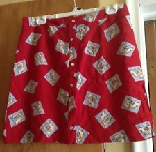 Desert West Red Horse Head Print Button Front Short Skirt (Size L)