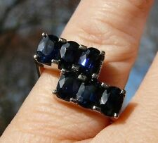 9K 9CT WHITE GOLD CUSTOM MADE OVAL BLUE SAPPHIRE SQUARE BAND RING @SZ 7