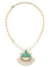 N224 Vintage Gold SUNRAY PENDANT NECKLACE Bold Turquoise White Enamel SD Collar