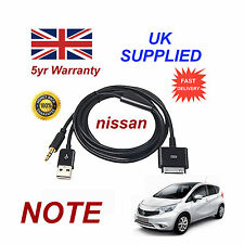 Original Nissan Note Iphone Ipod Usb & Aux Cable de reemplazo (Negro)