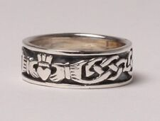 Irish Handcrafted Gents Silver Claddagh Ring Band Size 8