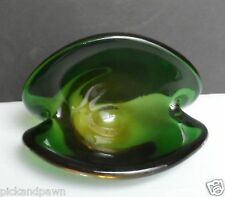 Vintage Murano Art Glass Clamshell Dish Bowl Green Amber Cased Double Bottom