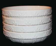 "4 Signature SORRENTO Embossed Leaves Ivory Distressed 8-1/4"" Pasta Bowls NWT"