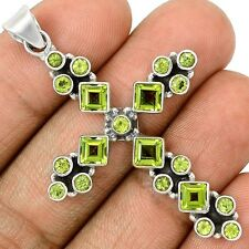 Cross - Peridot 925 Silver Pendant Jewelry SP202941