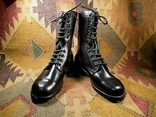 Vintage US Army Issue Black Leather Combat Boots Dated 1984 Size 5W Made in USA