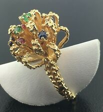 Lady's 14k yellow gold antique genuine ruby, sapphires, & emerald bow ring