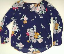 Old Navy Black Floral Blouse Boho Hippie Festival Small Fits Like XS Work Career