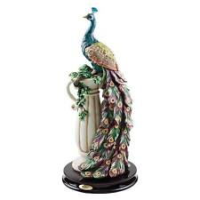 Peacock Flowing Feathers Upon a Corinthian Column in Paradise Art Deco Sculpture