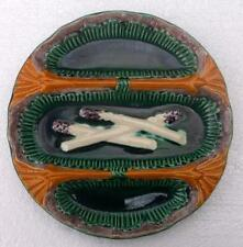 Beautiful Vintage French Bavent Majolica Asparagus Plate 2nd of  2