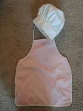 Kids White Chef Hat & Pink Apron