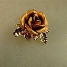 Schwäbisch Gmünd: Brosche goldbraune Rose Double um 1965 (40881)