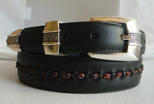 Brighton Black TANNER HORSEHAIR Taper Leather Belt  Size 34  M40723  NWT