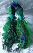 2 Peacock Green Blue Teal Glitter Dusted Tree Wedding Christmas Ornament 8 inch