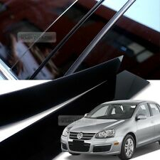 Glossy Black B C Pillar Post UV Coating Cover Trim 6Pcs For VW 2005-2010 Jetta
