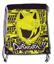**License Bag** Durarara Celty Keep Out Yellow Drawstring Back Pack #81017