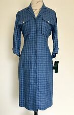 NWT RALPH LAUREN Womens Linen Plaid Button Down Shirt Dress Blue Sz 8 M Vintage