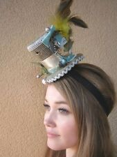 Victorian Steampunk Fascinator Mini Top Hat Spool Bird Butterfly Large Feathers