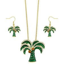 """Palm Tree Necklace & Earring Set - Sparkling Crystal - Fish Hook - 16"""" Chain"""