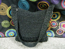 Old Navy Black Paper Yarn Inter-Woven Shoulder Bag w/Wooden Butterfly Accent