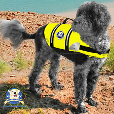 Paws Aboard Large Neon Yellow Dog Life Jacket Swim Safety Vest 50-90 lb Dog L