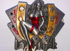 Lady Luck Belt Buckle Cards Gambling Pure Pewter Horseshoe 2004 Great American