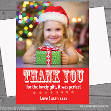 Personalised Photo Christmas Thank you Cards x 12+env A6 flat - Snowflake H0581