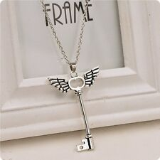 New Skeleton Key With Angel Wing Cross Long Chain Necklace Pendant Jewelry Gift