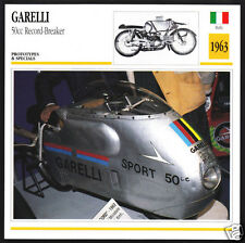 1963 Garelli 50cc Speed Record Breaker Bike Motorcycle Photo Spec Info Stat Card