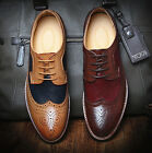 New Mens Vintage Wingtip Oxford Shoes Lace Up Dress Formal Casual Brogue Shoes