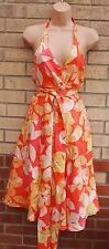 FULL CIRCLE LIGHT ORANGE SILK  YELLOW BELTED BACKLESS FLORAL  SKATER DRESS 14 L