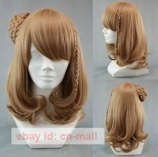 Anime Amnesia Heroine Short Brown Braided Cosplay party Wig + free wig cap