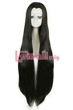 Black 100cm Long Straight Hairs Women Beauty Cosplay Wigs+Wig Cap
