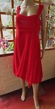 STUNNING 'COAST'SHEER SILK, RED LINED DRAPE & BUBBLE HEM DRESS SIZE 18