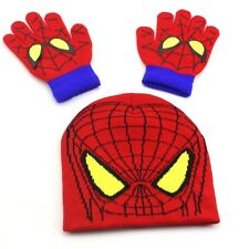 New Kids Boys Winter Spiderman Knitted Hat Gloves Set Child Beanie Hat Xmas Gift