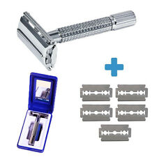 Men's Classic Traditional Double Edge Chrome Shaving Safety Razor + 5 Blades