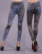New Women Leopard Print Skinny Leggings Denim Jeans Look Jeggings Stretchy Pants