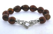 "11X13MM Chocolate Brown Freshwater Pearl Bracelet, Silver Crystal Heart, 8"" NEW"
