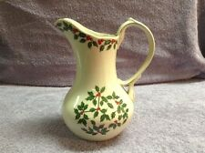 "Living Quarters Hand Painted Cream & Holly Berries 10 1/2"" Porcelain Pitcher"