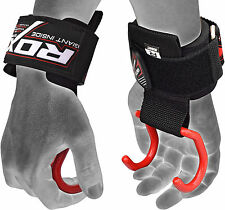 RDX Weight Lifting Training Gym Hook Grips Straps Gloves Wrist Support Cross AU