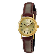 Casio Women's Brown Leather Strap Watch, Champagne Dial, LTP1095Q-9B1