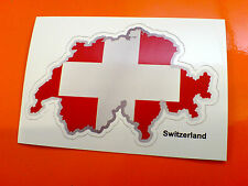 SWITZERLAND Flag & Map Motorcycle Helmet Van Car Bumper Sticker Decal 1 off 80mm