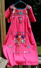 Puebla Dress Mexican Embroidered Flowers Floral Oaxacan Large L Pink Rosada