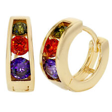 Gold Tone Multicolor Crystal Small Huggie Hoop Girl Earrings 9mm