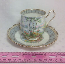 Vintage Royal Albert Tea Cup and Saucer Silver Birch England Gold Gilt Delicate