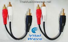 "2X Premium RCA Audio ""Y"" Cable Adapter HQ Splitter 1 Male to 2 Male Plugs VWLTW"