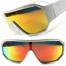Retro Futuristic Sci-Fi Party Costume Red Mirrored Lens White Wrap Sun Glasses