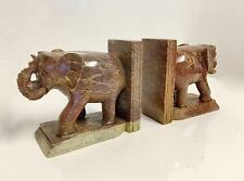 Vintage Carved Polished Marble Brown Elephant Bookends Figurines Made in India