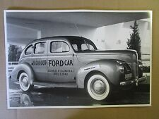"""12 By 18"""" Black & White PICTURE Ford 1940 4 door 28 Millionth Ford Edgewater NJ"""