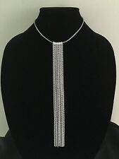 Leather and Chain FRINGE CHOKER NECKLACE Silver Plated Modern Chic US