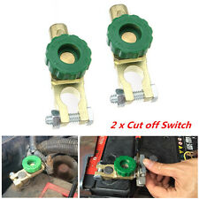 2x Green Battery Link Terminal Quick Cut-off Disconnect Master Kill Shut Switch